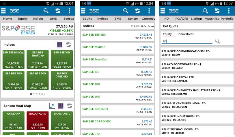 BSEIndia on Mobile App
