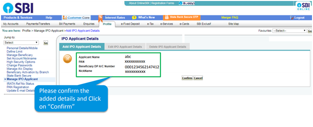 What is the meaning of ipo applicant in sbi